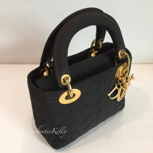 CHRISTIAN DIOR Dark Brown Mini Microfiber Quilted Cannage Handbag
