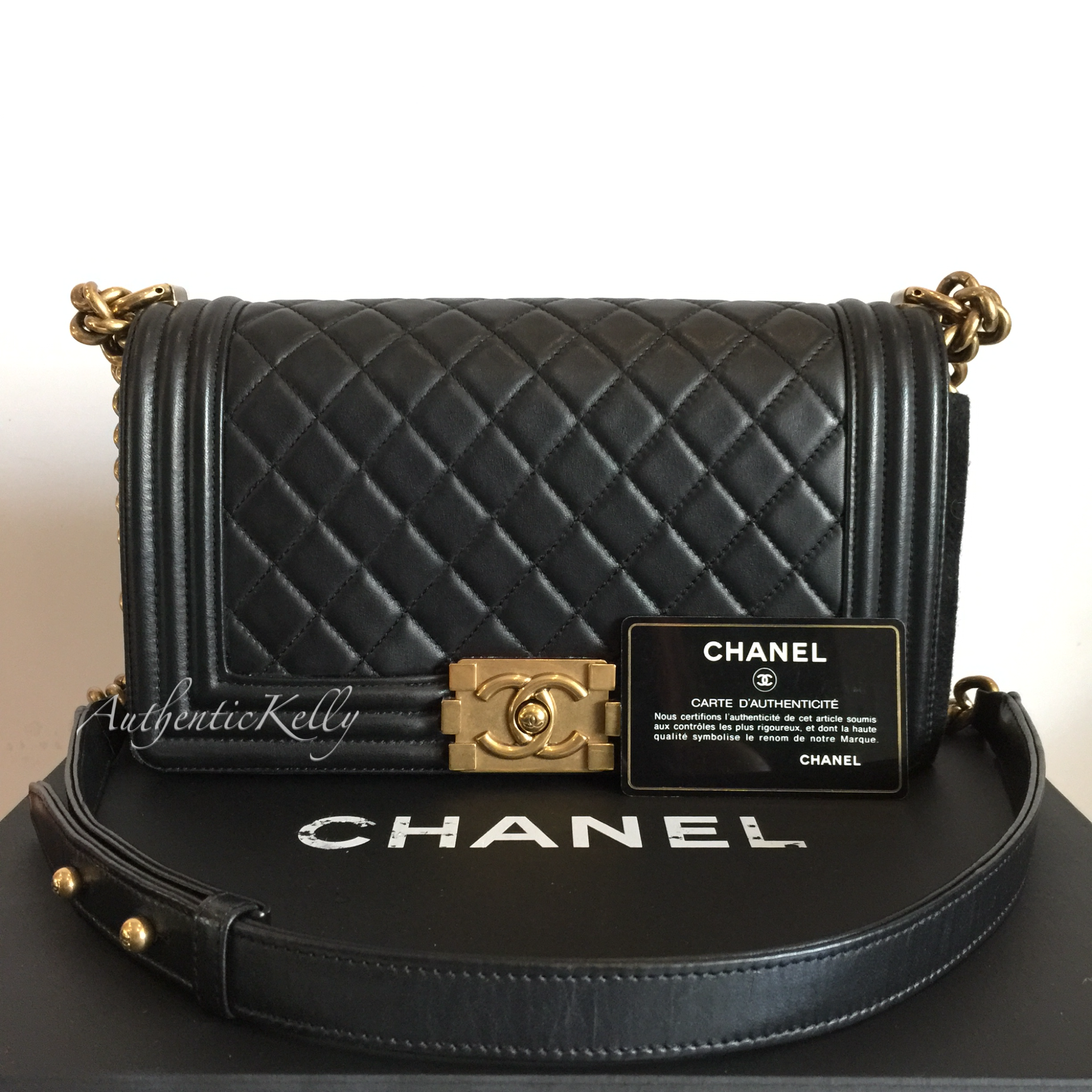c8bb4ab0ba20 CHANEL Black Old Medium Boy with GHW – AuthenticKelly