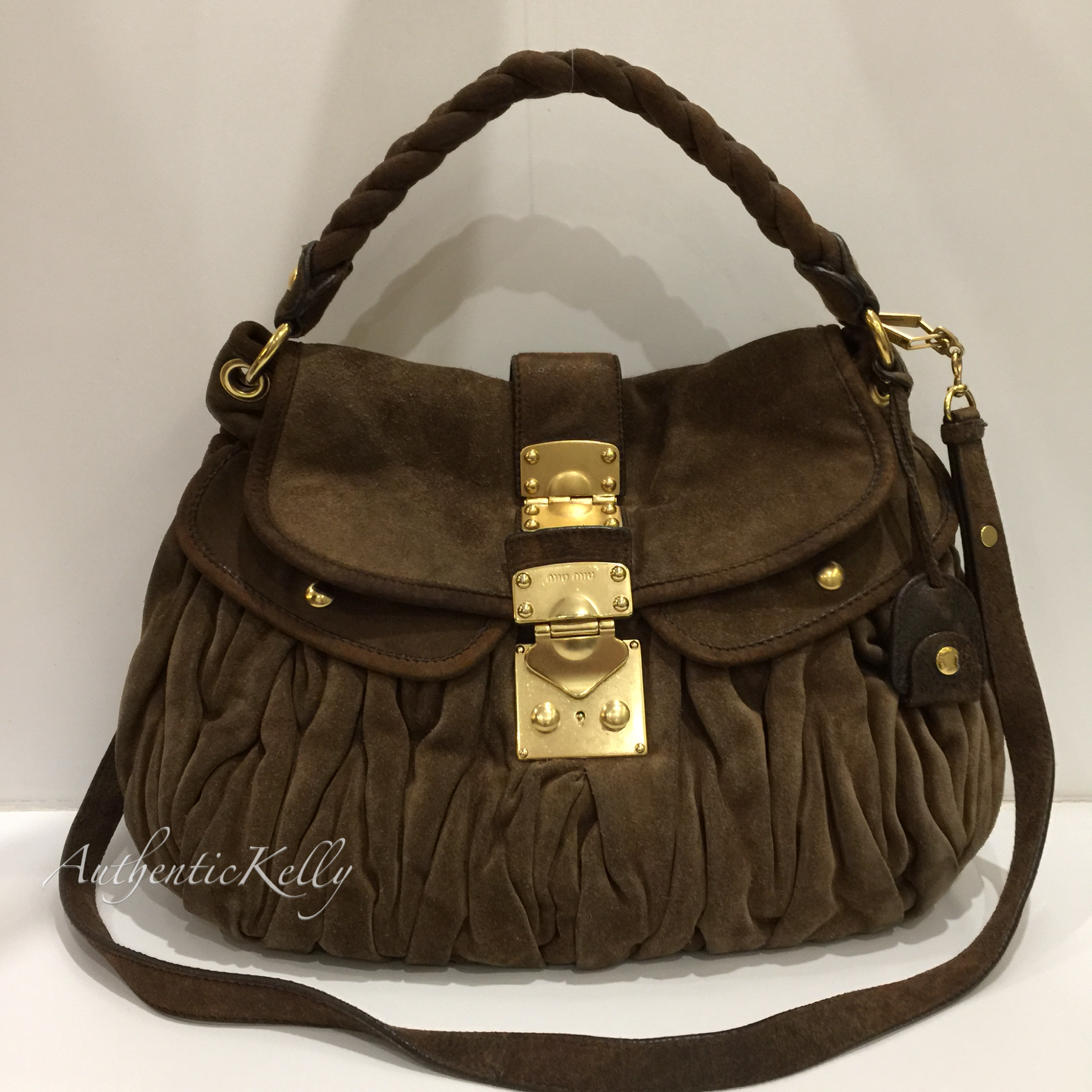d4d3f3f772d3 MIU MIU Brown Suede Large Coffer – AuthenticKelly