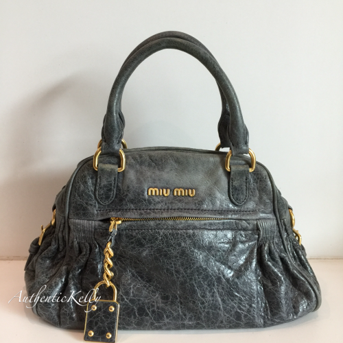 e1f78aeb0004 MIU MIU Gray Leather Mesh Shoulder Tote Bag