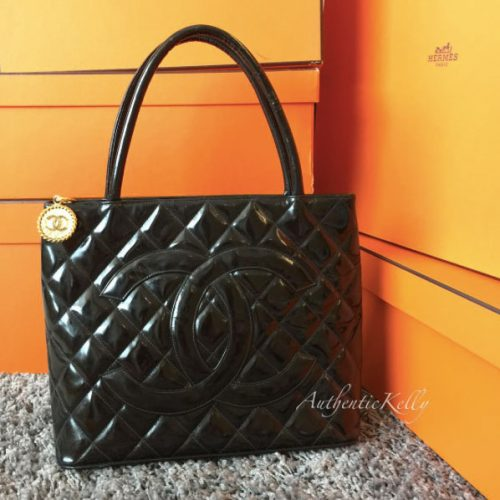 CHANEL Black Patent Leather Medallion Tote with GHW