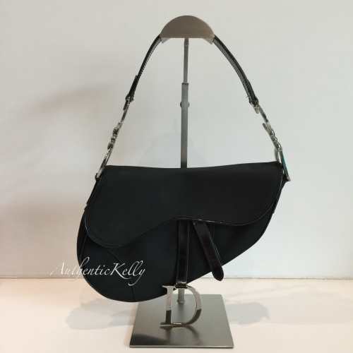 7de1fac5a8 CHRISTIAN DIOR Saddle Shoulder Bag Black